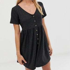 Smock mini dress with buttons